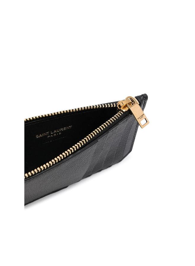 Monogram Plaque Zip CC Holder in Black/Gold