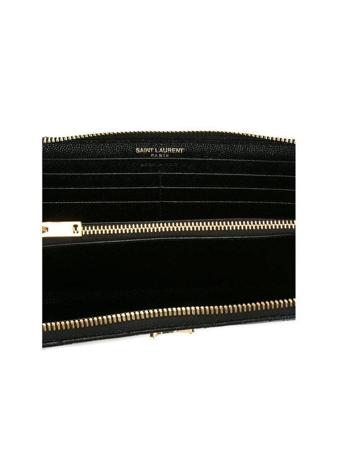 Monogram Zip Around Wallet in Black/Gold