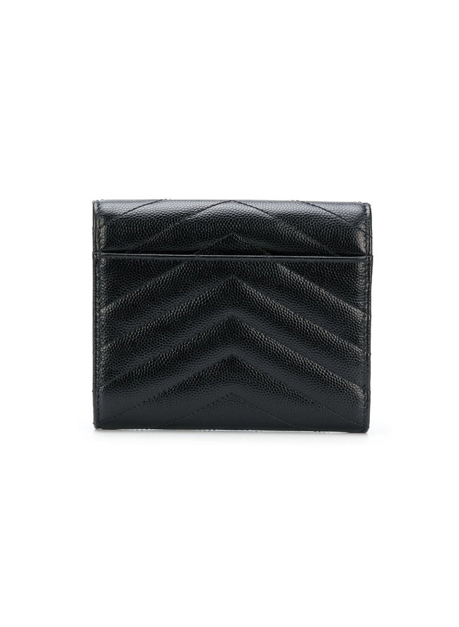 Monogram Small Flap Wallet in Black/Gold