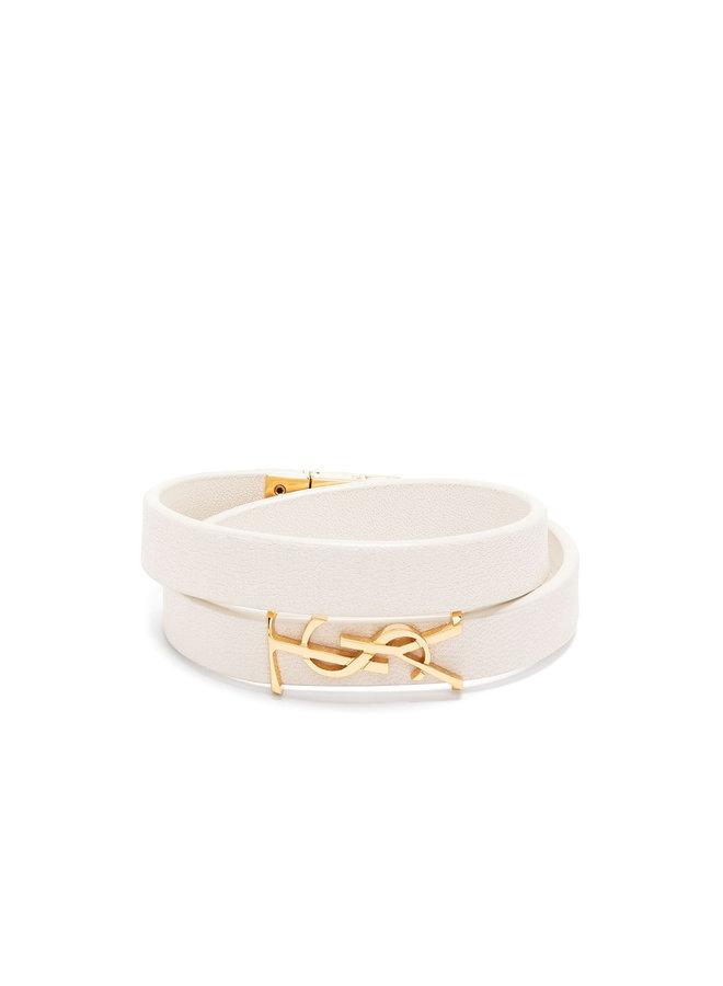 Monogram Double Wrap Bracelet in Crema/Gold