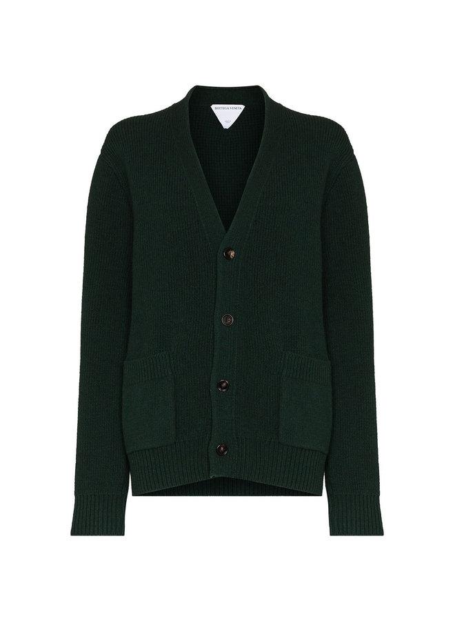 Knitted Cardigan in Dark Green