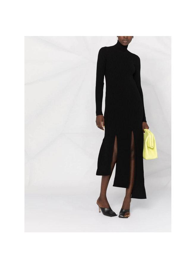 Asymmetric Knitted Dress in Black