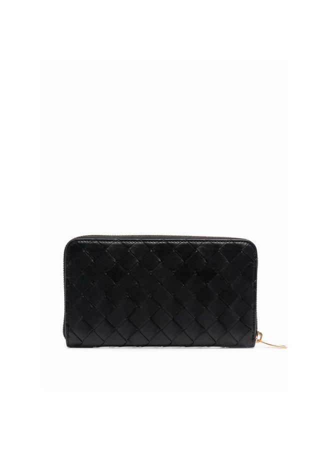Zip Around Wallet in Black/Gold
