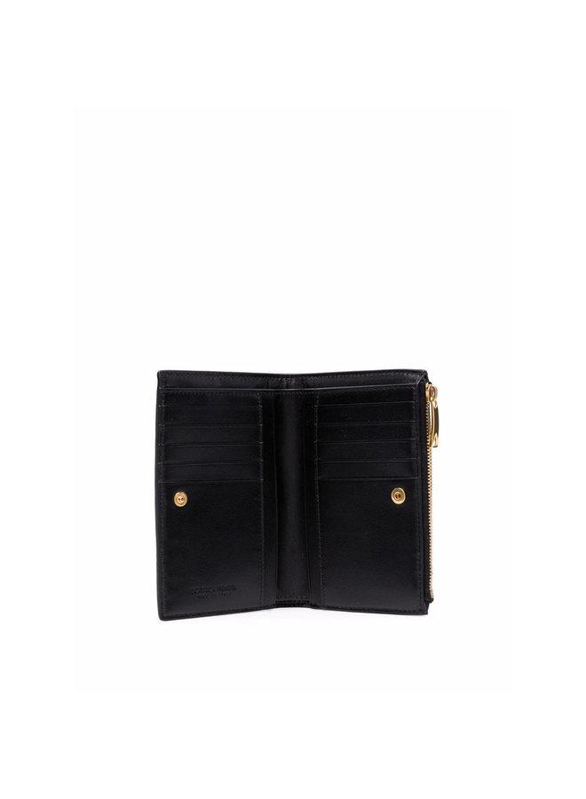 Maxi Intrecciato Zip Wallet in Black/Gold