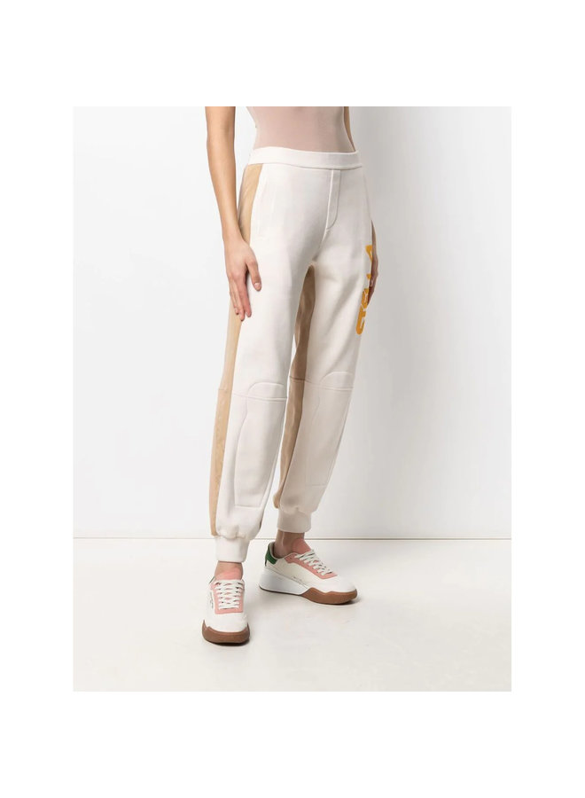Logo Print Casual Pants in Off White
