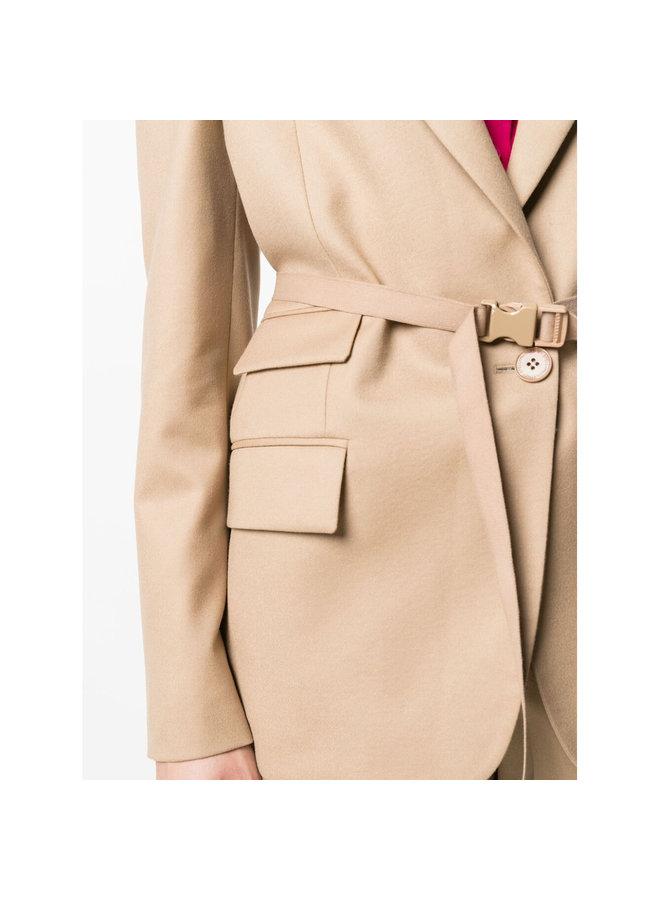 Bella Belted Blazer Jacket in Light Camel