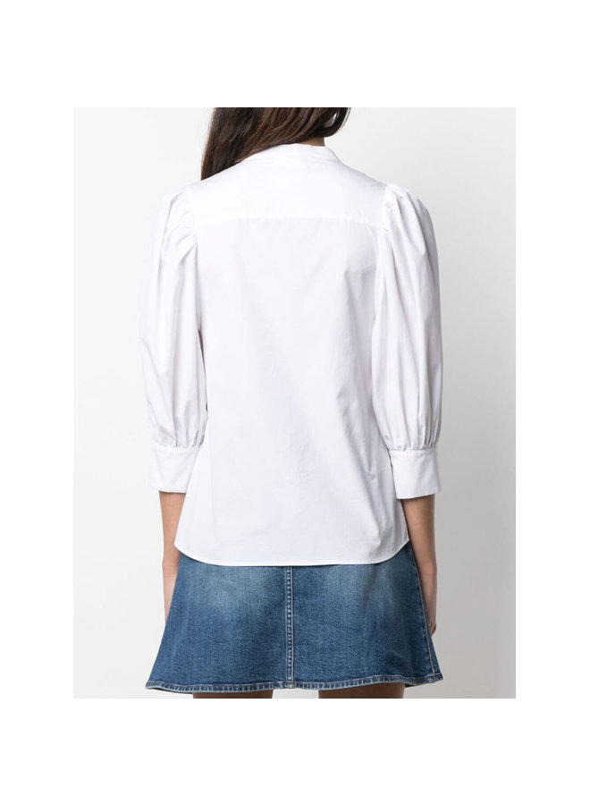 Rose Long Sleeve Zip Blouse in Pure White