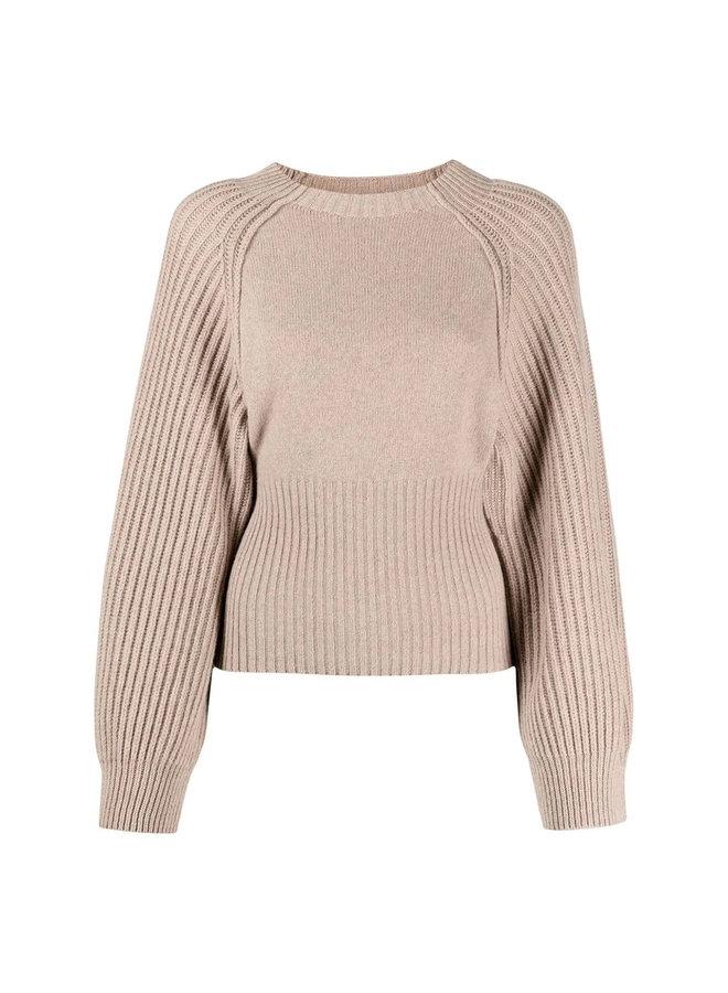 Rib Knit Sweater in Beige