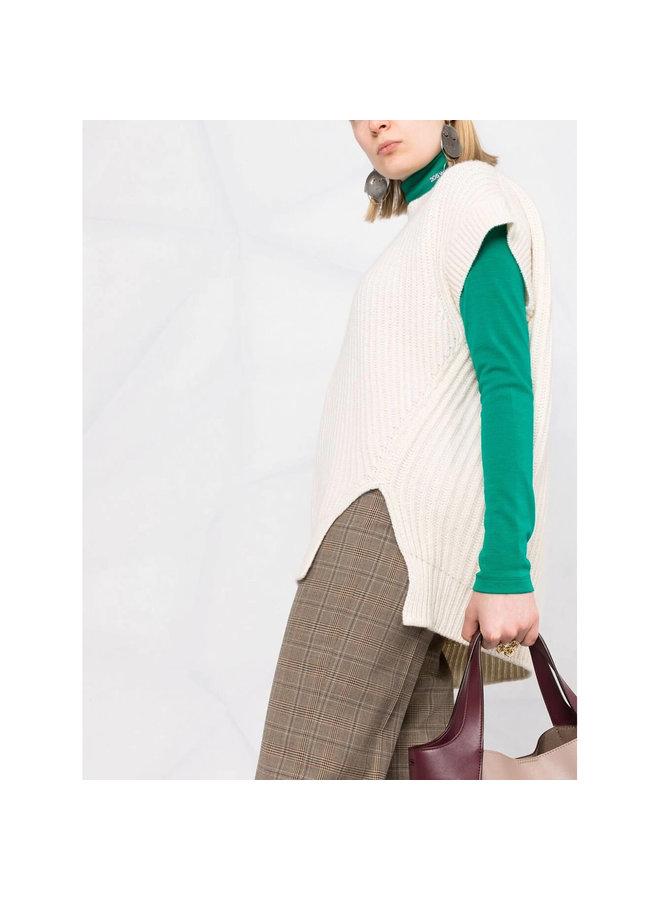 Sleeveless Rib Knit Sweater in Ivory