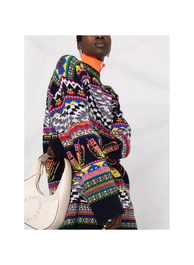 Oversize Knitted Sweater in Multicolor