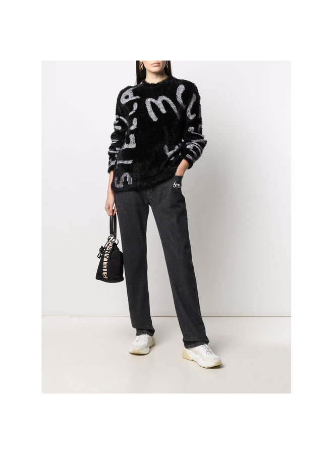 Logo Knitted Sweater in Black