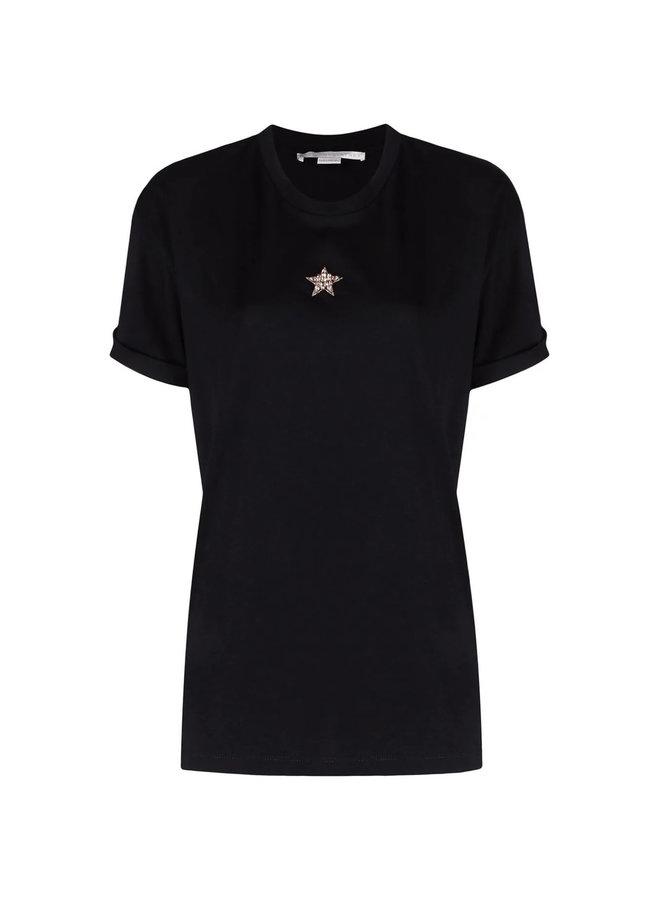 Embellished Star T-Shirt in Black
