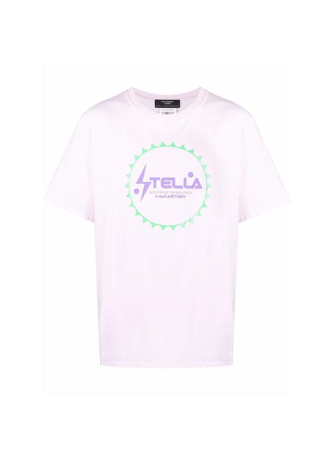 Logo Print T-Shirt in Pale Pink