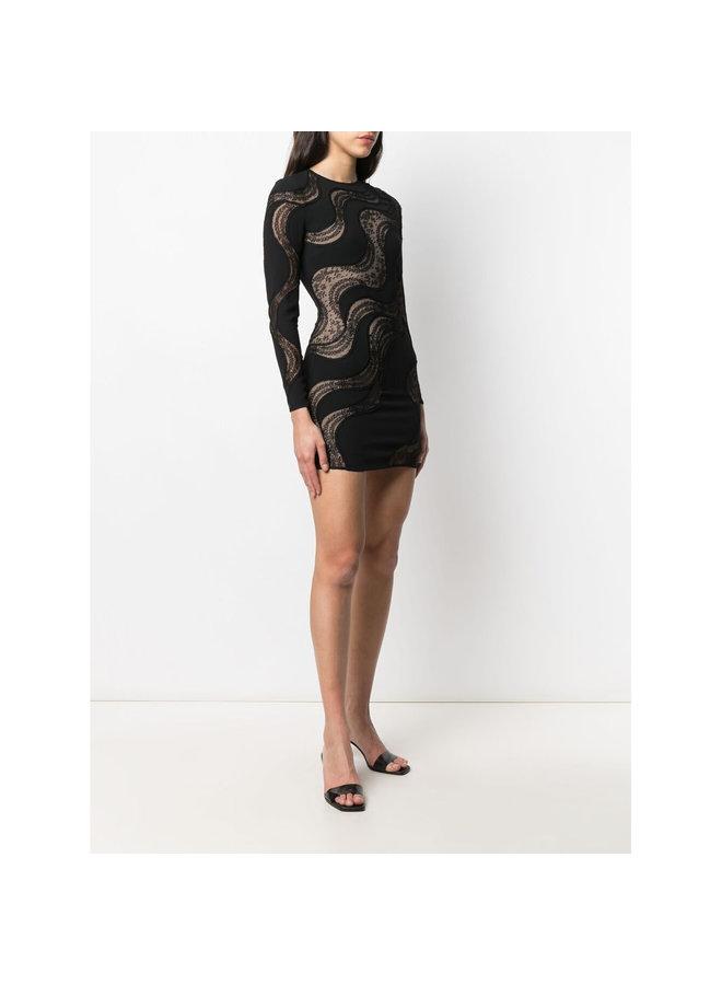 Long Sleeve Mini Wave Dress in Black