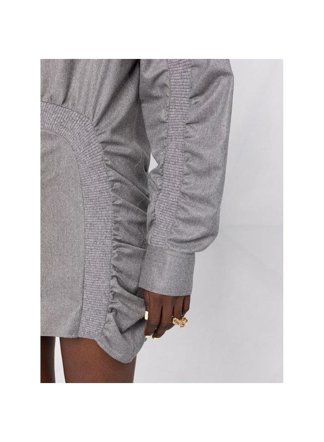 Mini Ruched Dress in Light Grey Melange