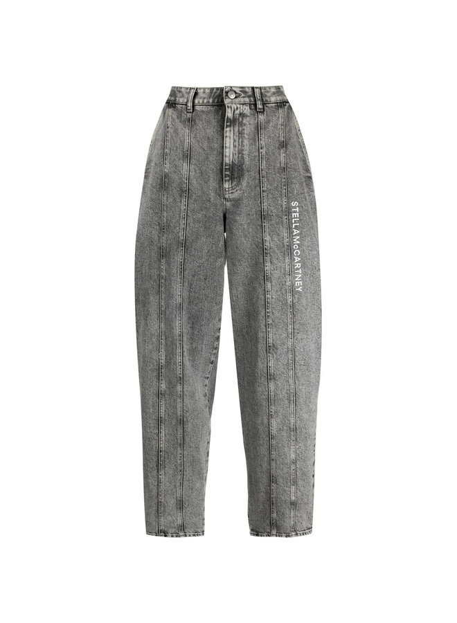 Logo Embroidered Denim Jeans in Washed Grey