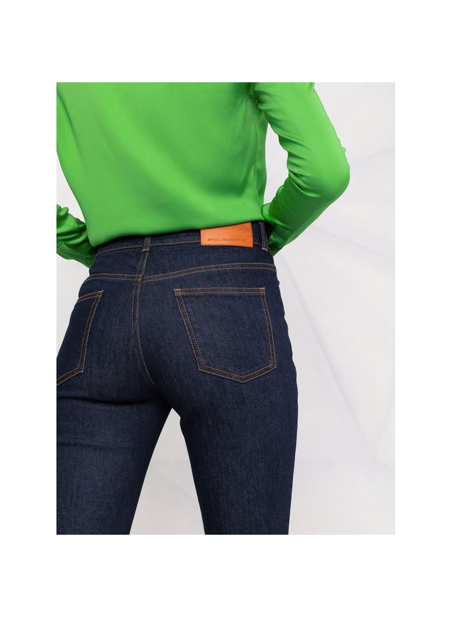 High-Waisted Flared Jeans in Dark Blue