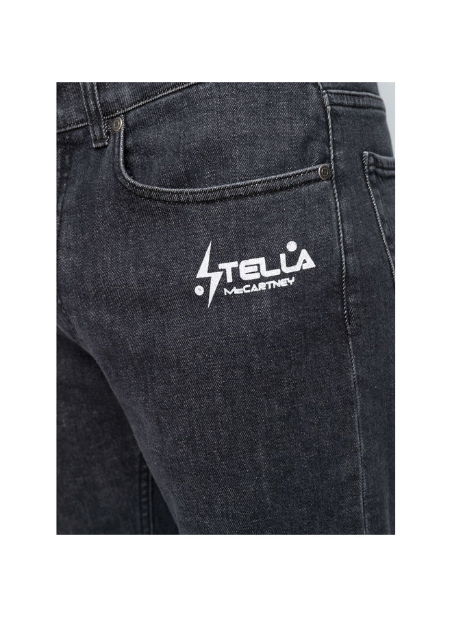 Straight-Leg Logo Print Jeans in Black
