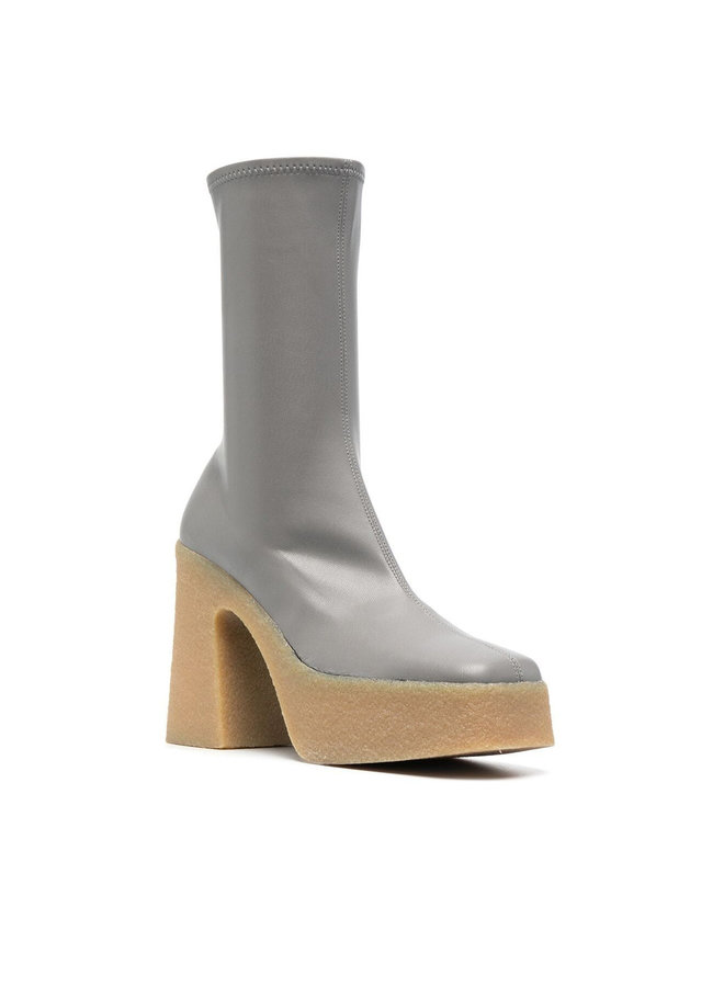 Skyla Stretch Platform Boots in Pale Grey