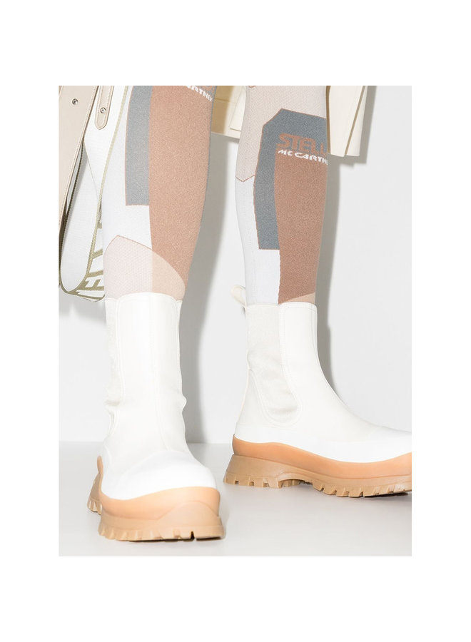 Trace Flat Ankle Boots in Cream/Black