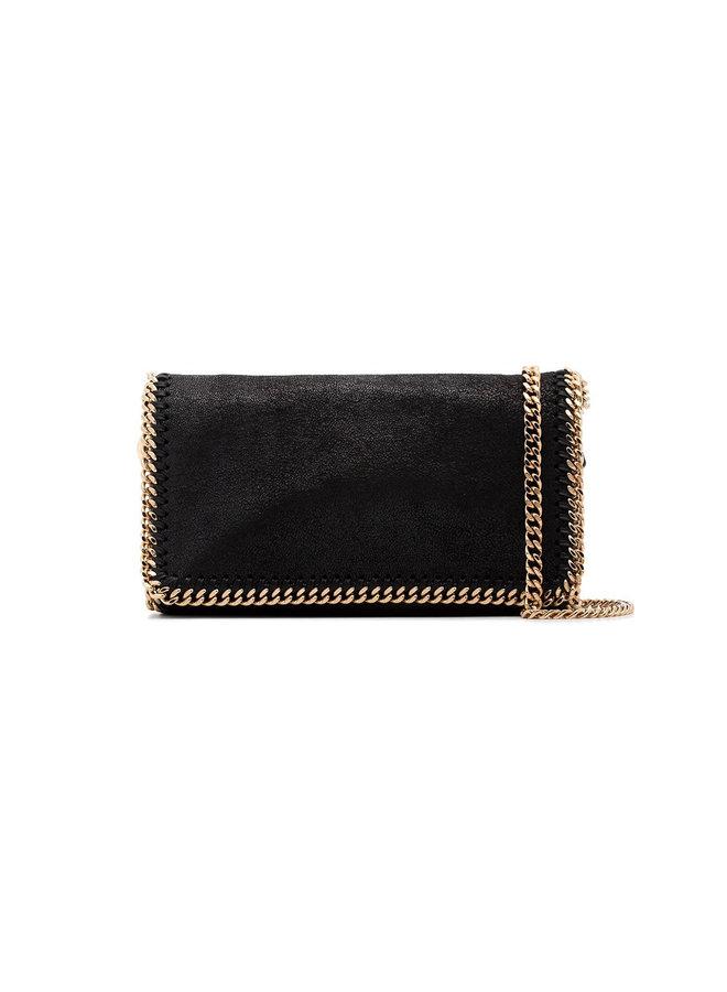 Foldover Falabella Crossbody Bag in Black/Gold