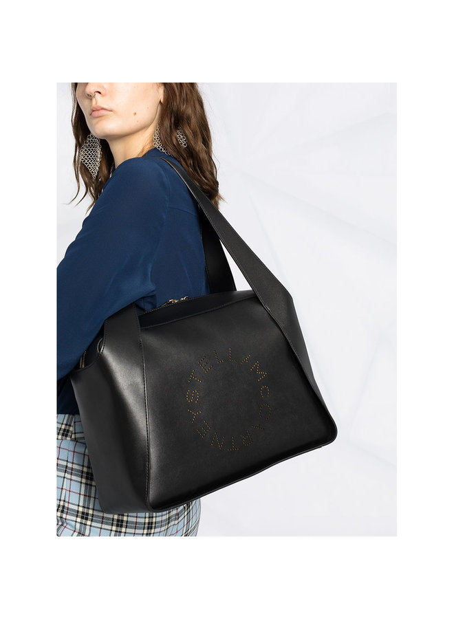 Zipped Logo Tote Bag in Black