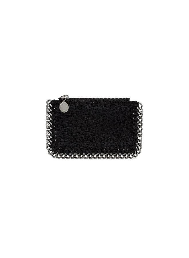 Falabella Zip Card Holder in Black/Silver
