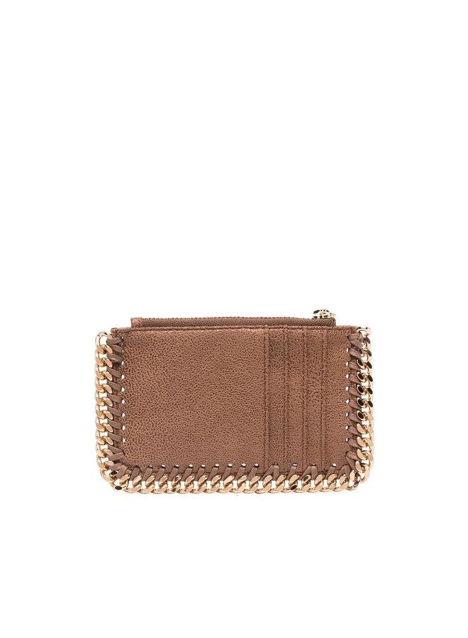 Falabella Zip Card Holder in Camel/Gold