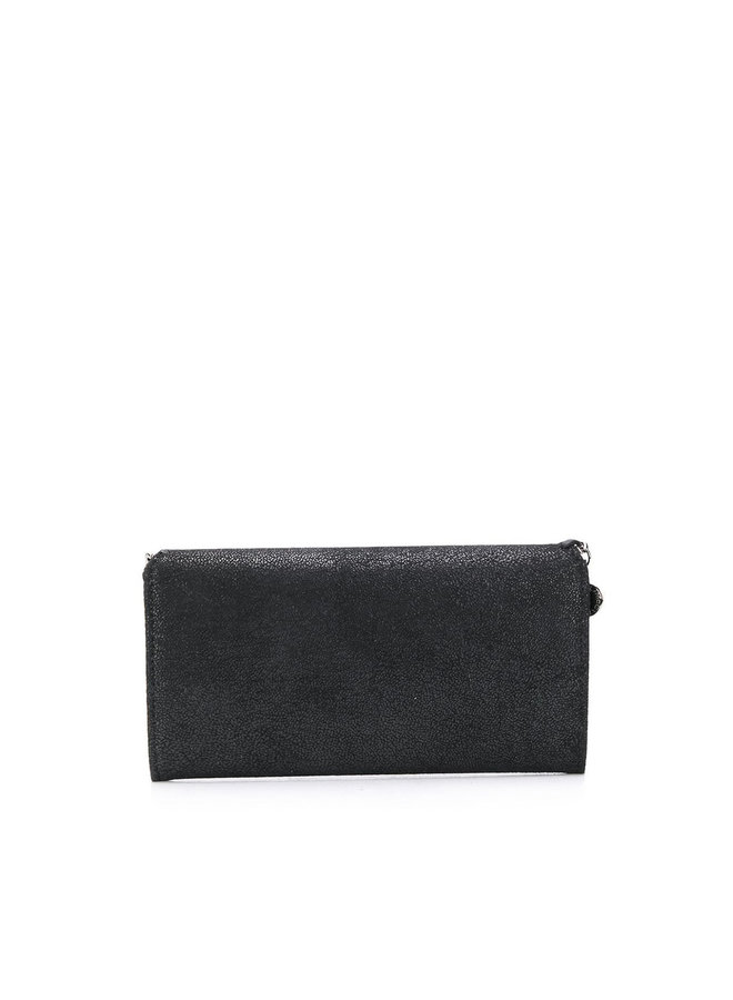 Falabella Large Flap Wallet in Black/Silver