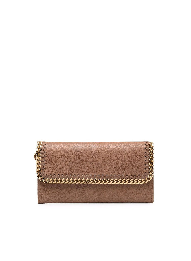 Falabella Large Flap Wallet in Camel/Gold