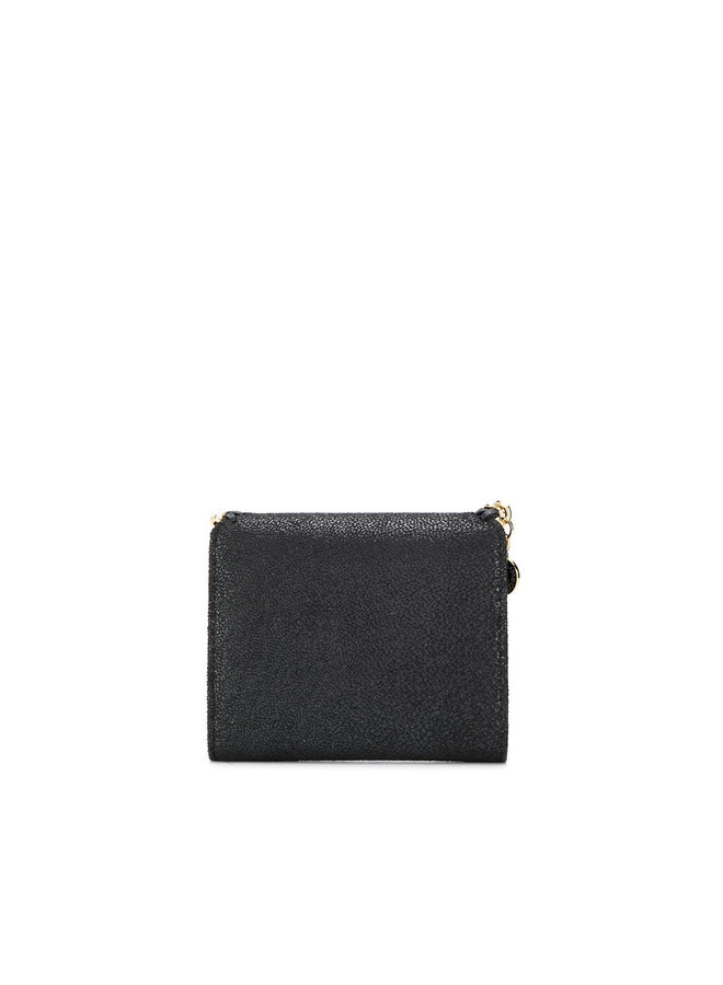 Falabella Small Flap Wallet in Black/Gold