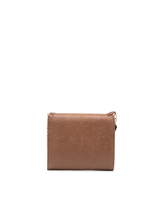 Falabella Small Flap Wallet in Camel/Gold