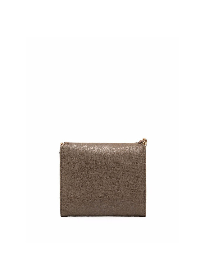 Falabella Small Flap Wallet in Olive/Gold