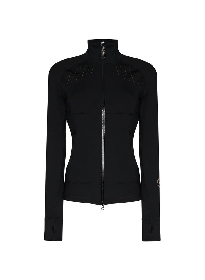 Fitted Zip Jacket in Black