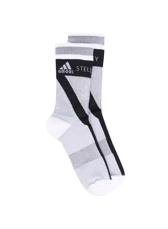 Logo High Knit Socks in White/Black