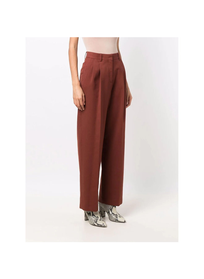 High Waisted Straight Leg Pants in Brown