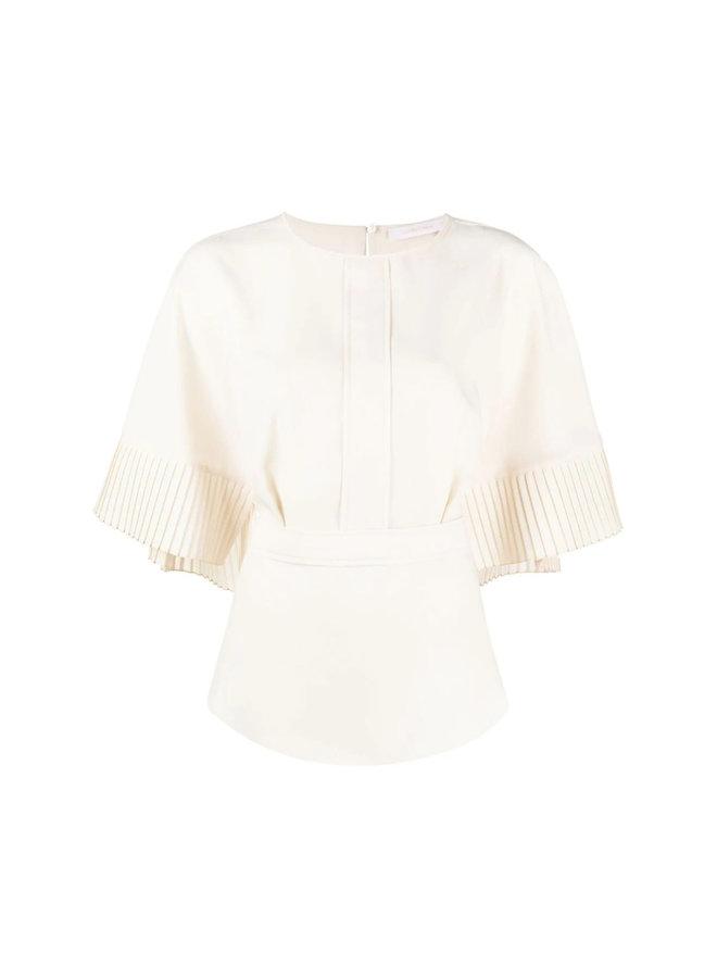 Short Sleeve Pleated Blouse