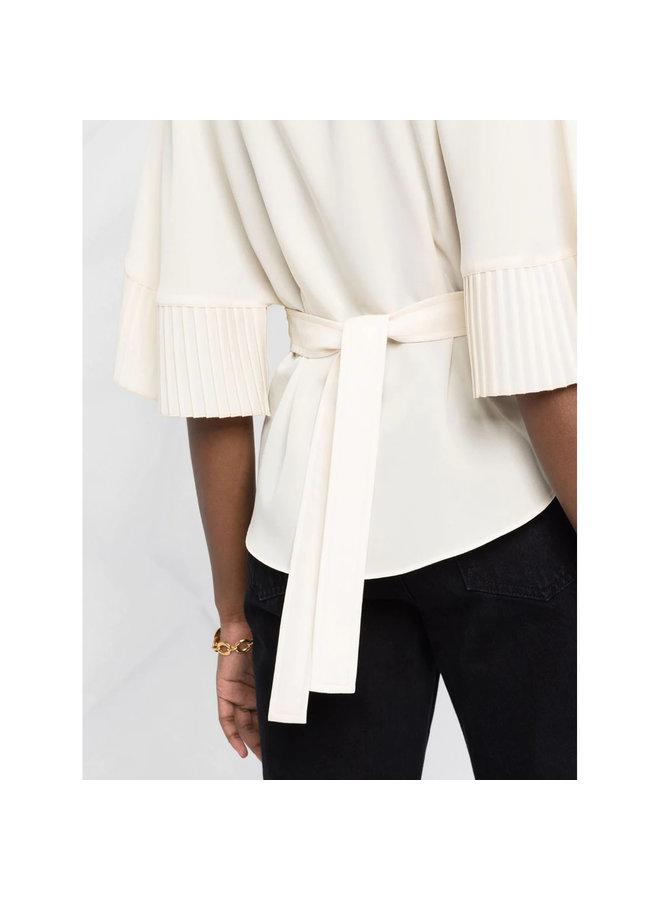 Short Sleeve Pleated Blouse in Cream