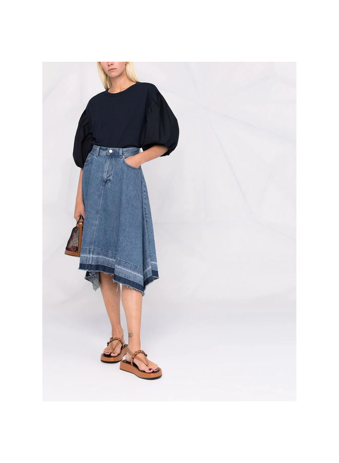 Short Puff Sleeve Blouse in Navy