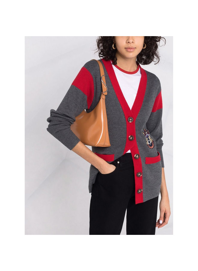 Patch Detail Cardigan in Grey