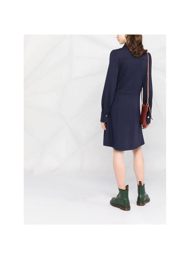 Long Sleeve Short Dress in Blue