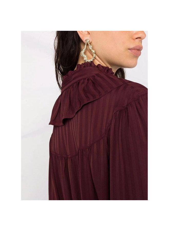 Ruffle Collar Mini Dress in Purple