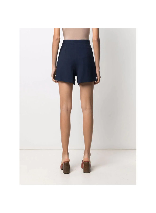High Waisted Buttoned Shorts in Blue Lagoon