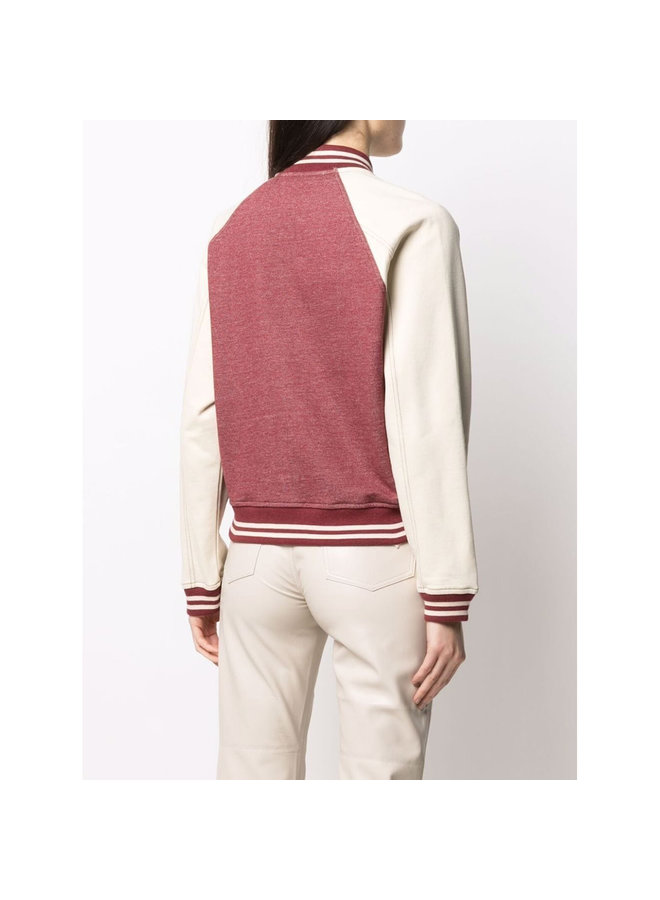 Teddy Bomber Jacket in Red/White