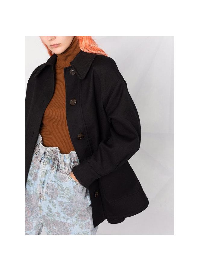 Short Buttoned Coat in Black