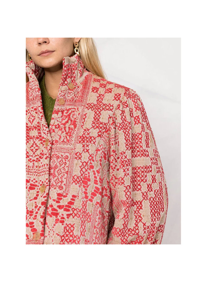 Short Printed Jacket in Red