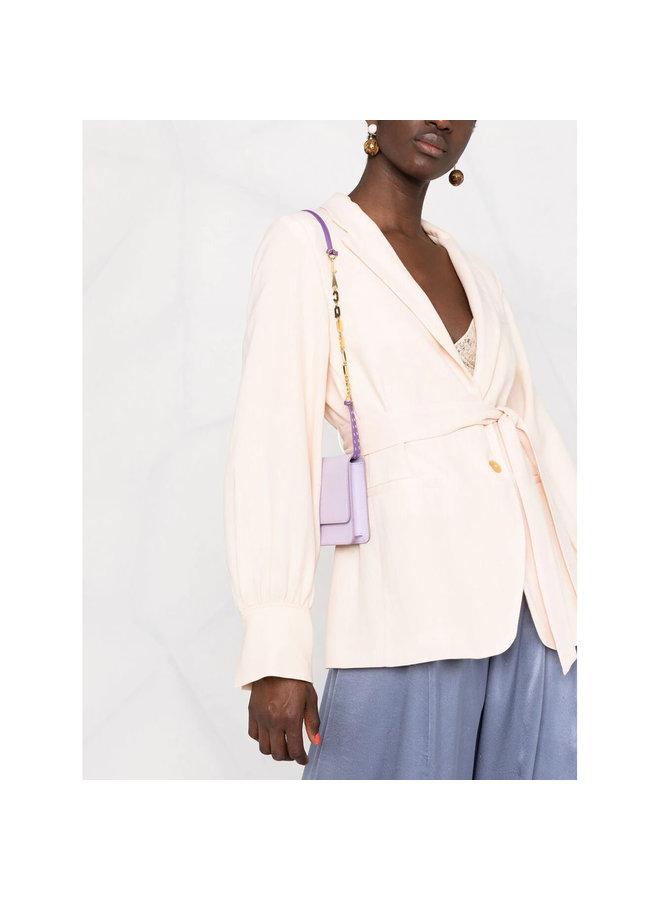 Belted Blazer Jacket in Beige