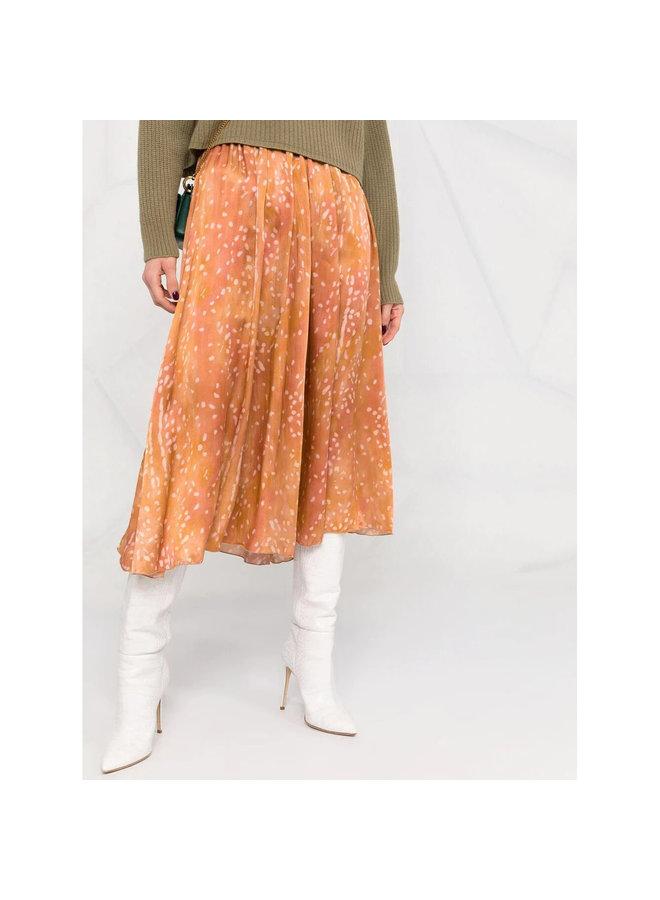 Draped Midi Printed Skirt in Caramel