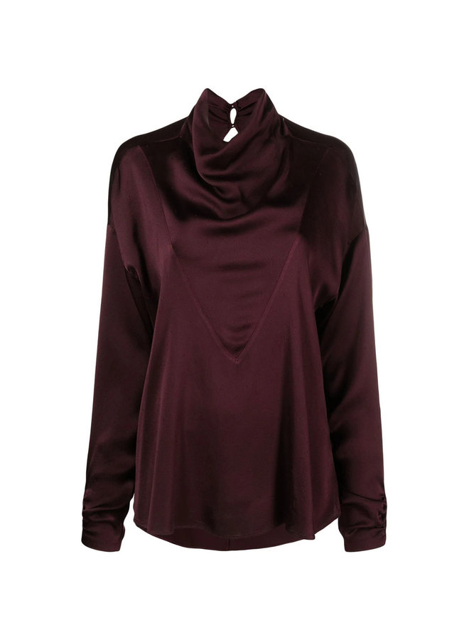 Cowl Neck Blouse in Chocolate