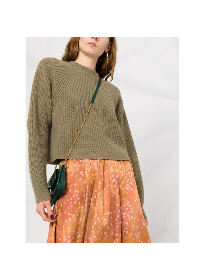 Cropped Knit Sweater in Khaki